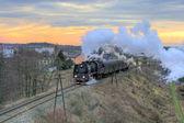 Krajina s parním vlakem — Stock fotografie