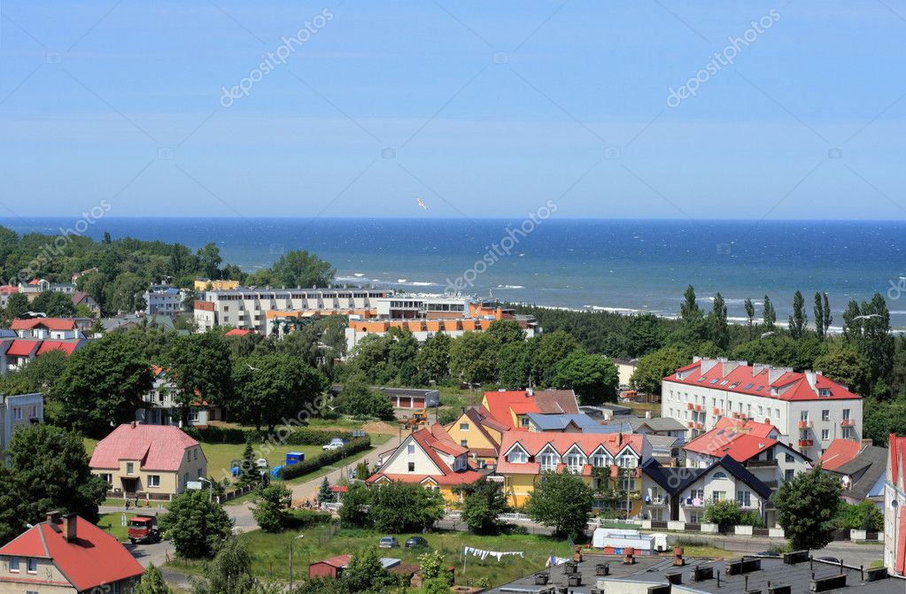 Aerial view of the beach and Baltic sea in Wladyslawowo, Poland — Stock Photo #1972489