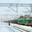 Heavy winter at the railway station — Stock Photo