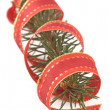 Pine branch with a christmas ribbon - Stock fotografie