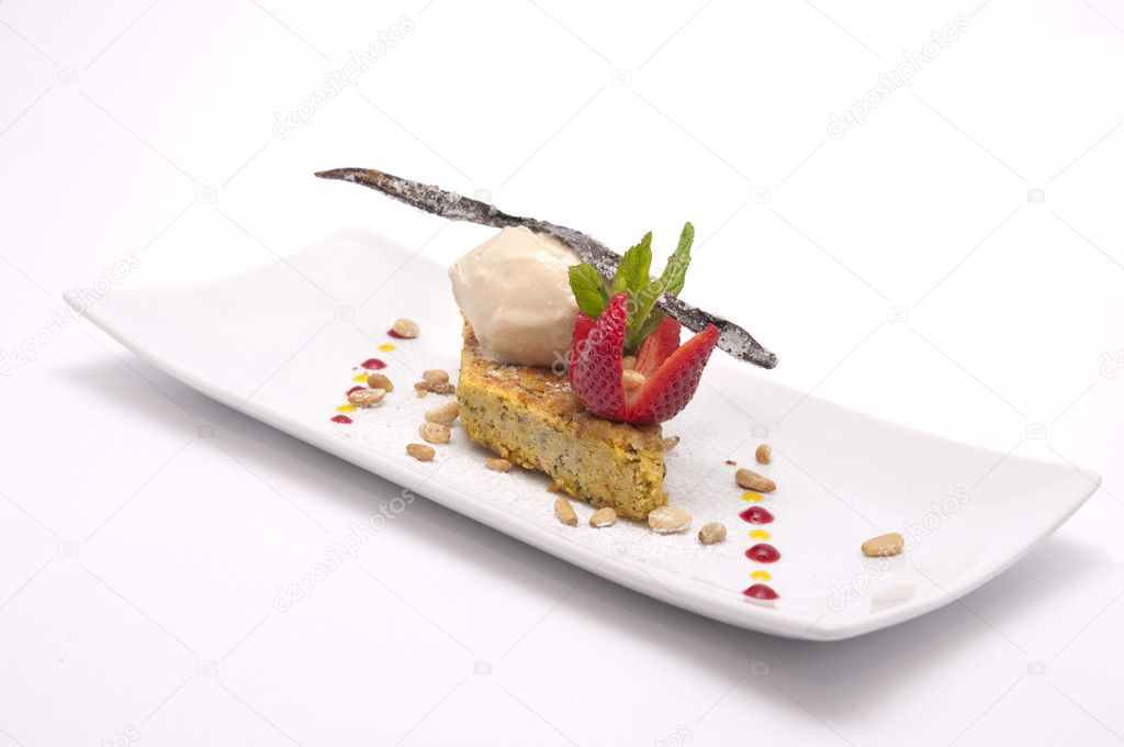 Delicious cake with ice cream and vanilla bean on it  Stock Photo #2485323
