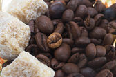 Lots of natural coffee beans with sugar — Stock Photo