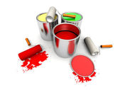 Roll painters, color cans and splashing — Stock Photo