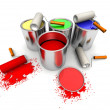Stock Photo: Roll painters, color cans and splashing