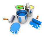 Roll painters, color cans and splashing — Stockfoto