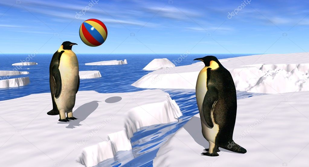 3D render of two penguins playing with a beach ball in a polar landscape  Stock Photo #1882269