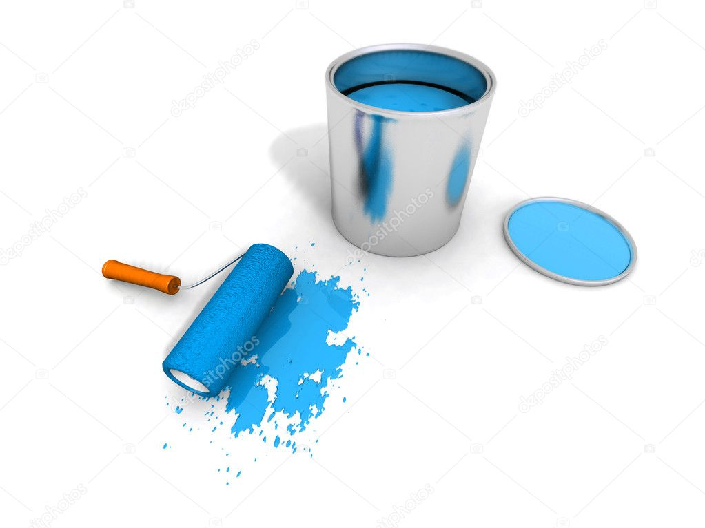 3D render of paint roller, blue can and splashing — Stock Photo #1887412