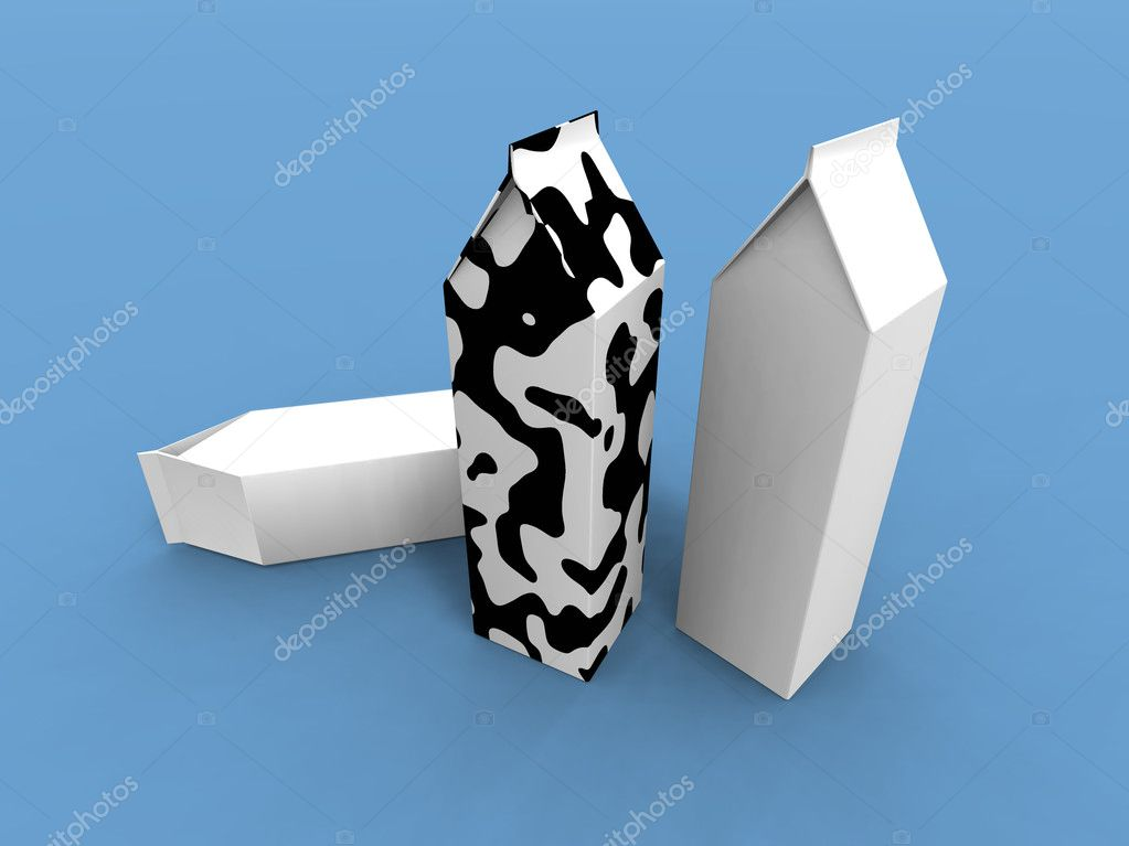 A 3d render of some milk packs on a blue background  Zdjcie stockowe #1888338
