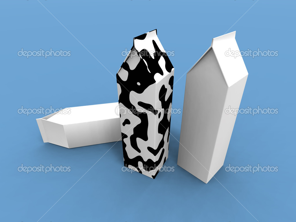 A 3d render of some milk packs on a blue background — Lizenzfreies Foto #1888338