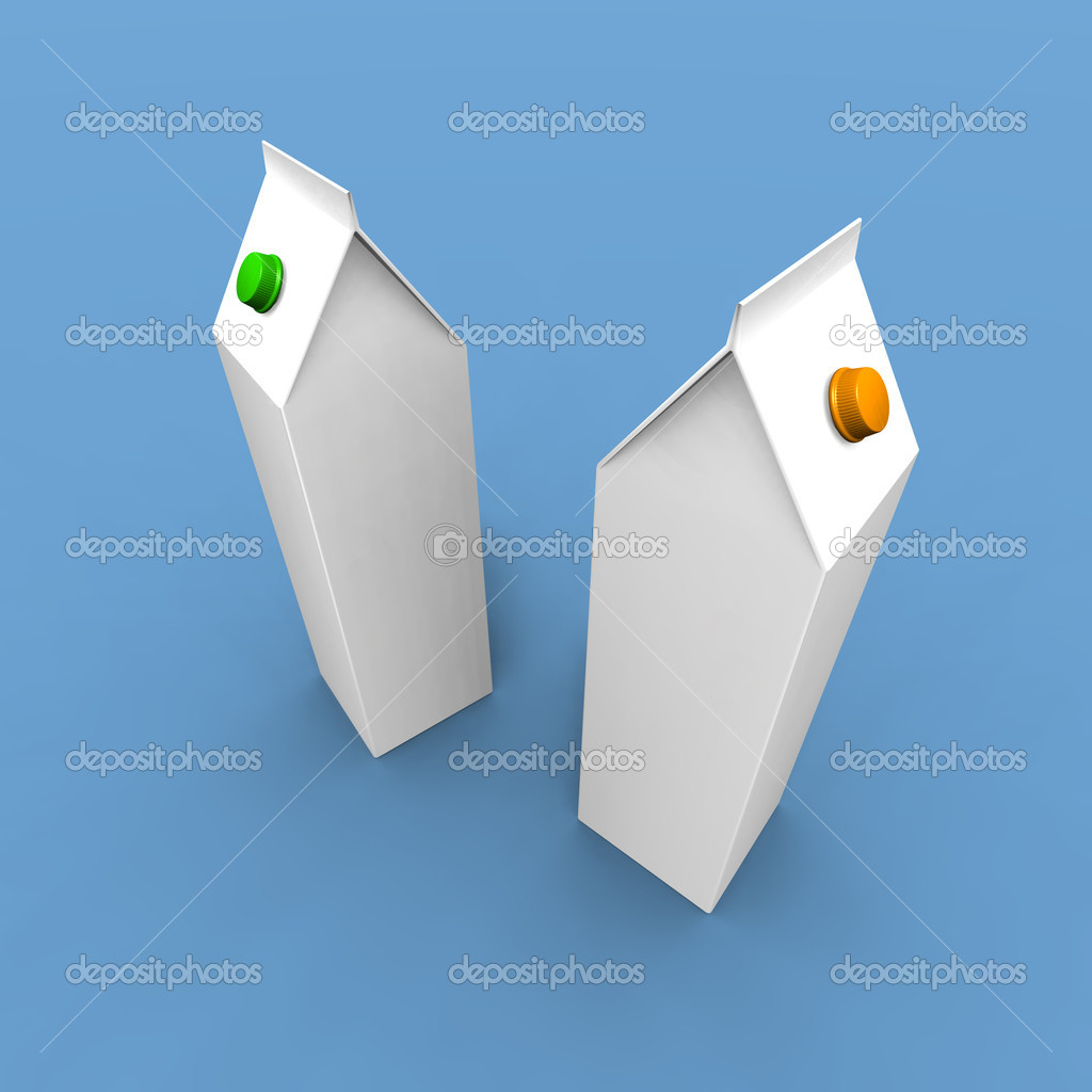 A 3d render of two milk paks on a blue background  Foto de Stock   #1888358