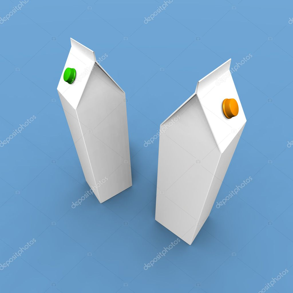 A 3d render of two milk paks on a blue background — Stok fotoğraf #1888358