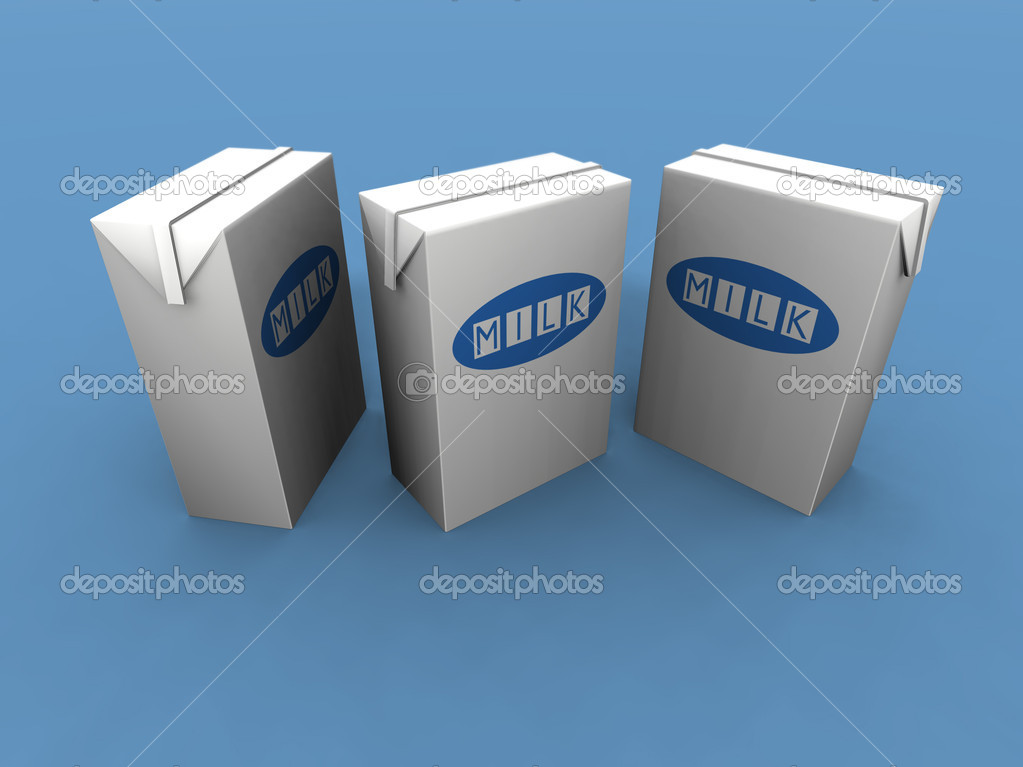 A 3d render of two milk packs on a blue background — Stock Photo #1888837