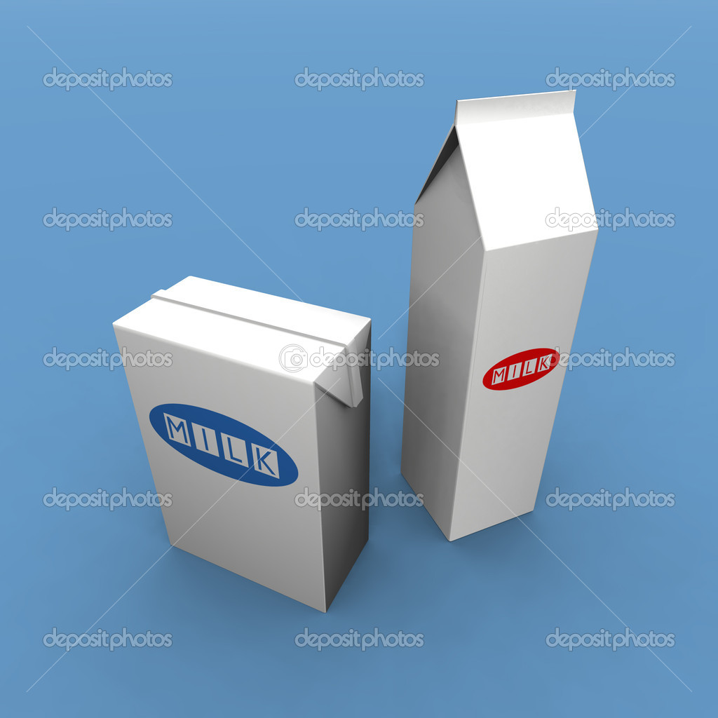 A 3d render of two milk packs on a blue background — Stock Photo #1888894