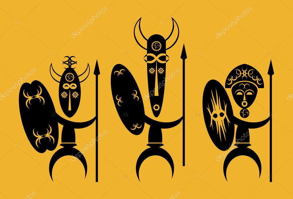 African Warriors - Stock Illustration
