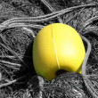 Yellow buoy and ropes — Stock Photo