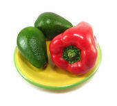 Avocados and red pepper — Stock Photo