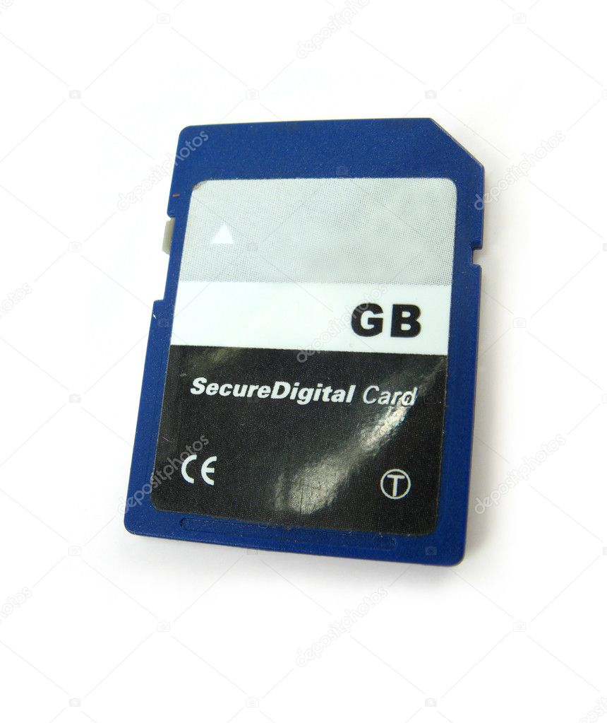 Image of a memory SD card on a white background — Stock Photo #1928492