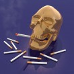 Skull smoking — Stock Photo