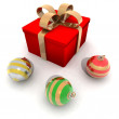 Christmas gift and ornaments - Stock Photo