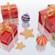 Christmas balls and gifts - Stock Photo