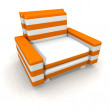 Orange and white armchair - Stock Photo