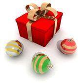 Adornos y regalo de navidad — Foto de Stock