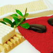 Spa stones with green leaf — Stockfoto