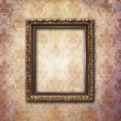 Golden frame over vintage wallpaper — 图库照片