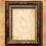 Wooden frame over vintage wallpaper — Stock Photo