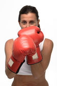 Mature woman boxing — Stock Photo