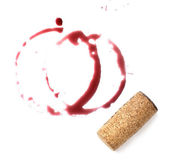 Close up of red wine marks and cork — Stock Photo