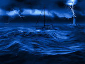 Sailing boat with a storm — Stockfoto