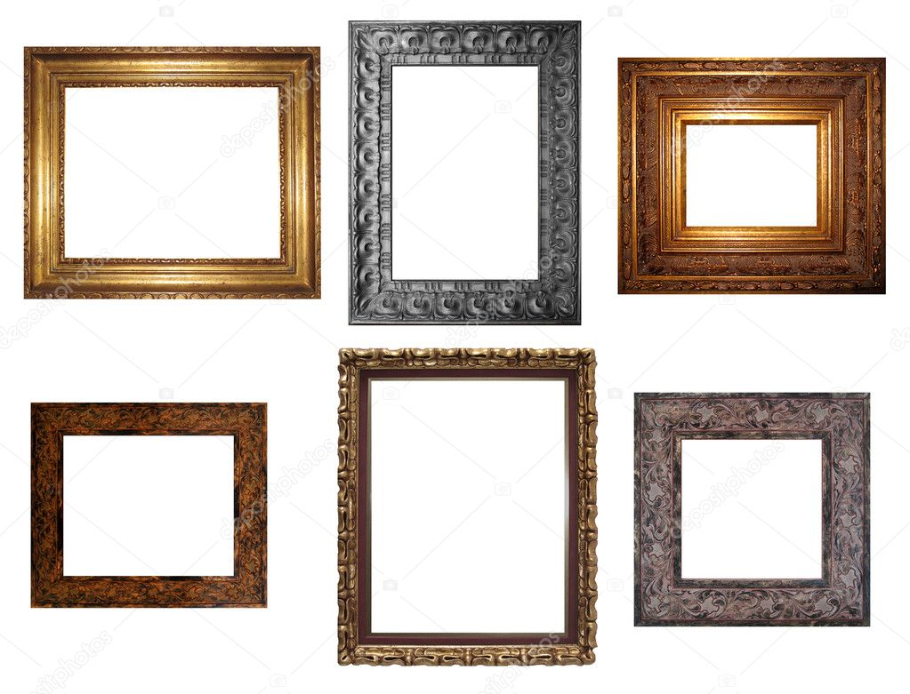 Decorative empty wall picture frames stock photo for Unique wall frames