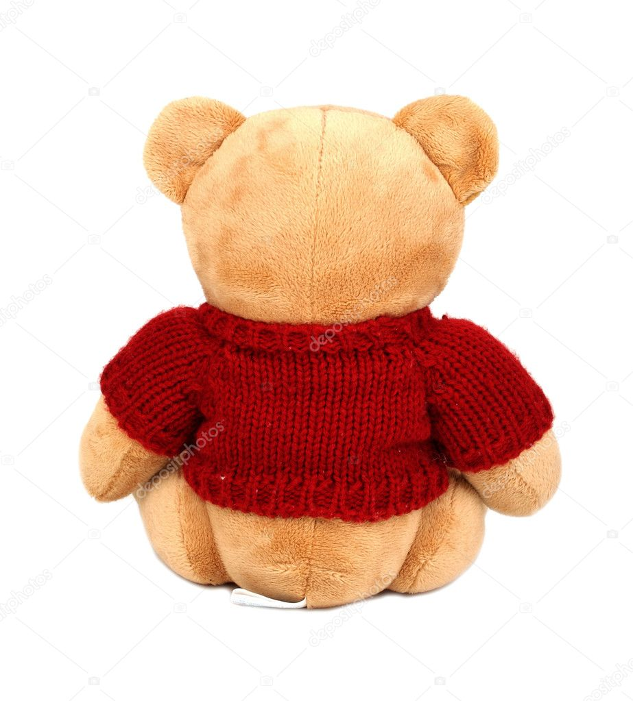 Teddy with red sweater isolated on white background — Photo #1906749