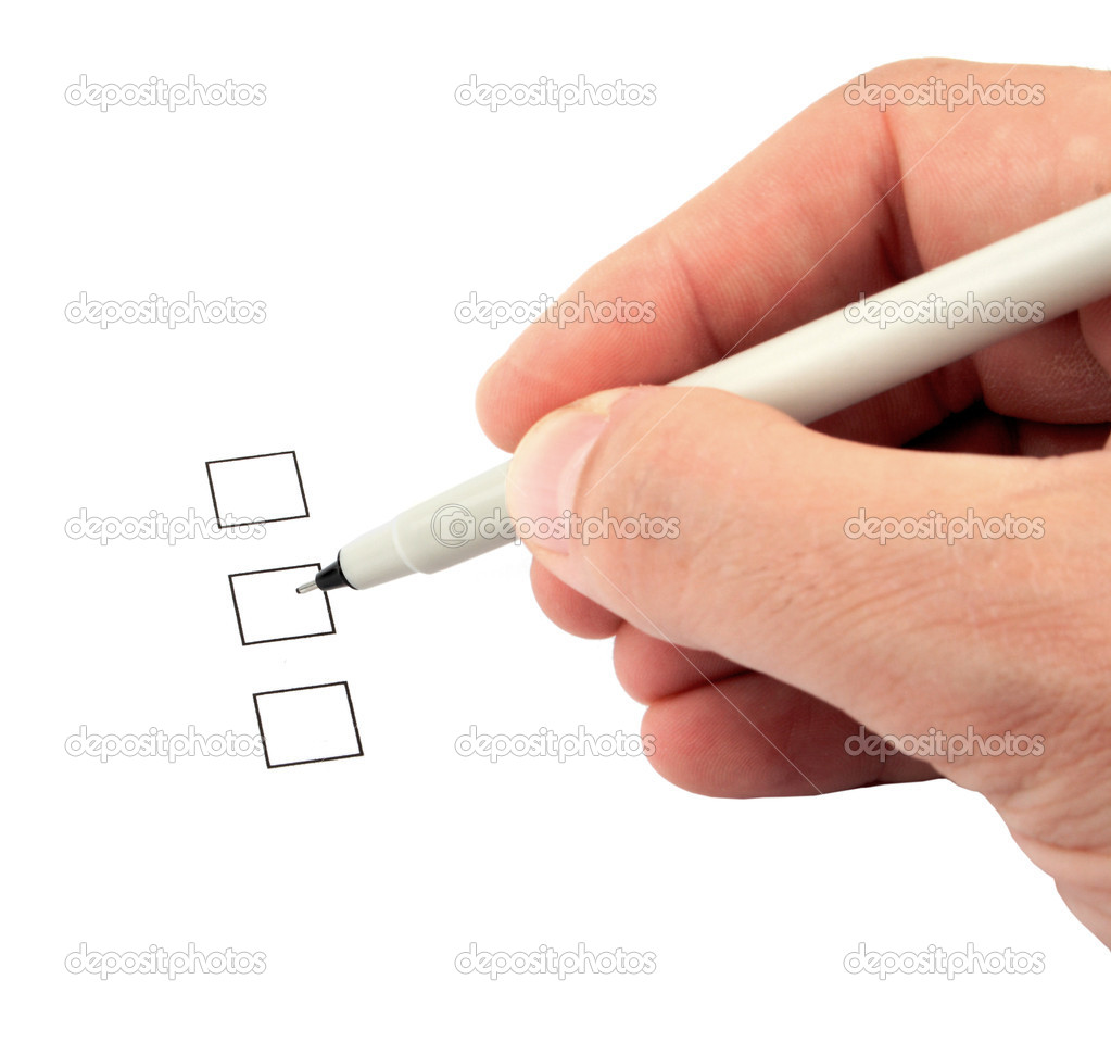 Hand holding a pen and three check boxes  Stock Photo #1907035