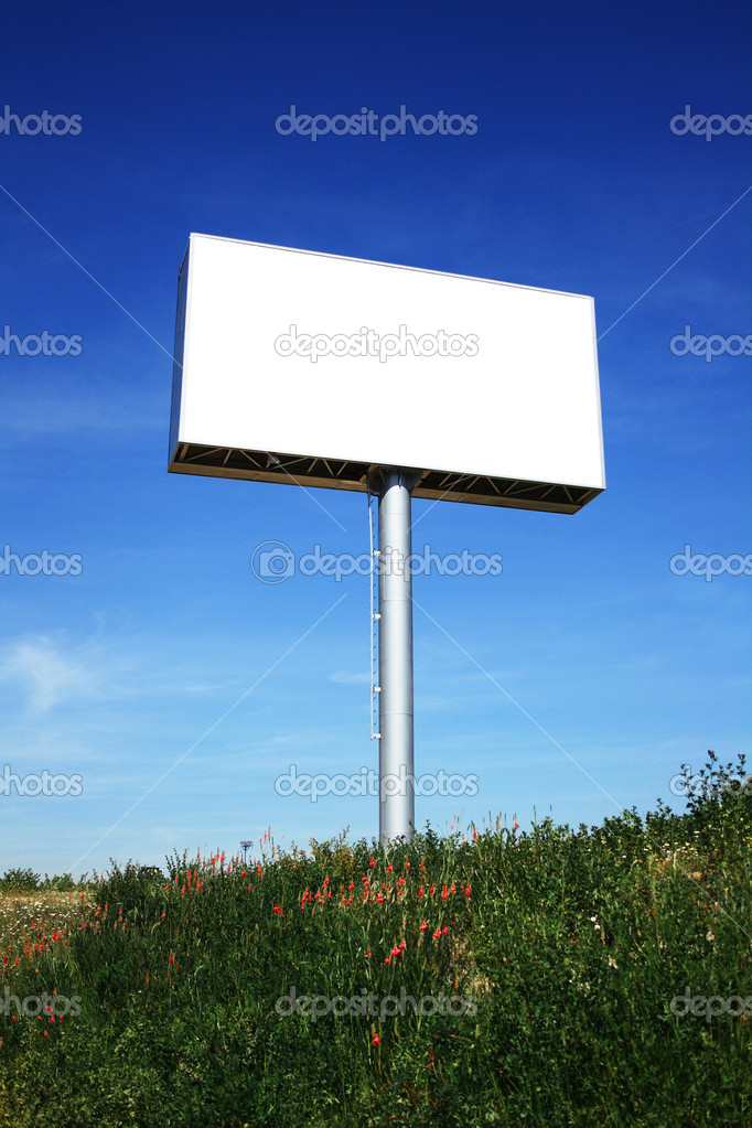 Outdoor Blank Billboard on sky background — Stock Photo #1907075