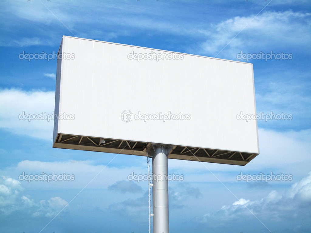 Outdoor Blank Billboard on cloudy sky background — Stock Photo #1907162