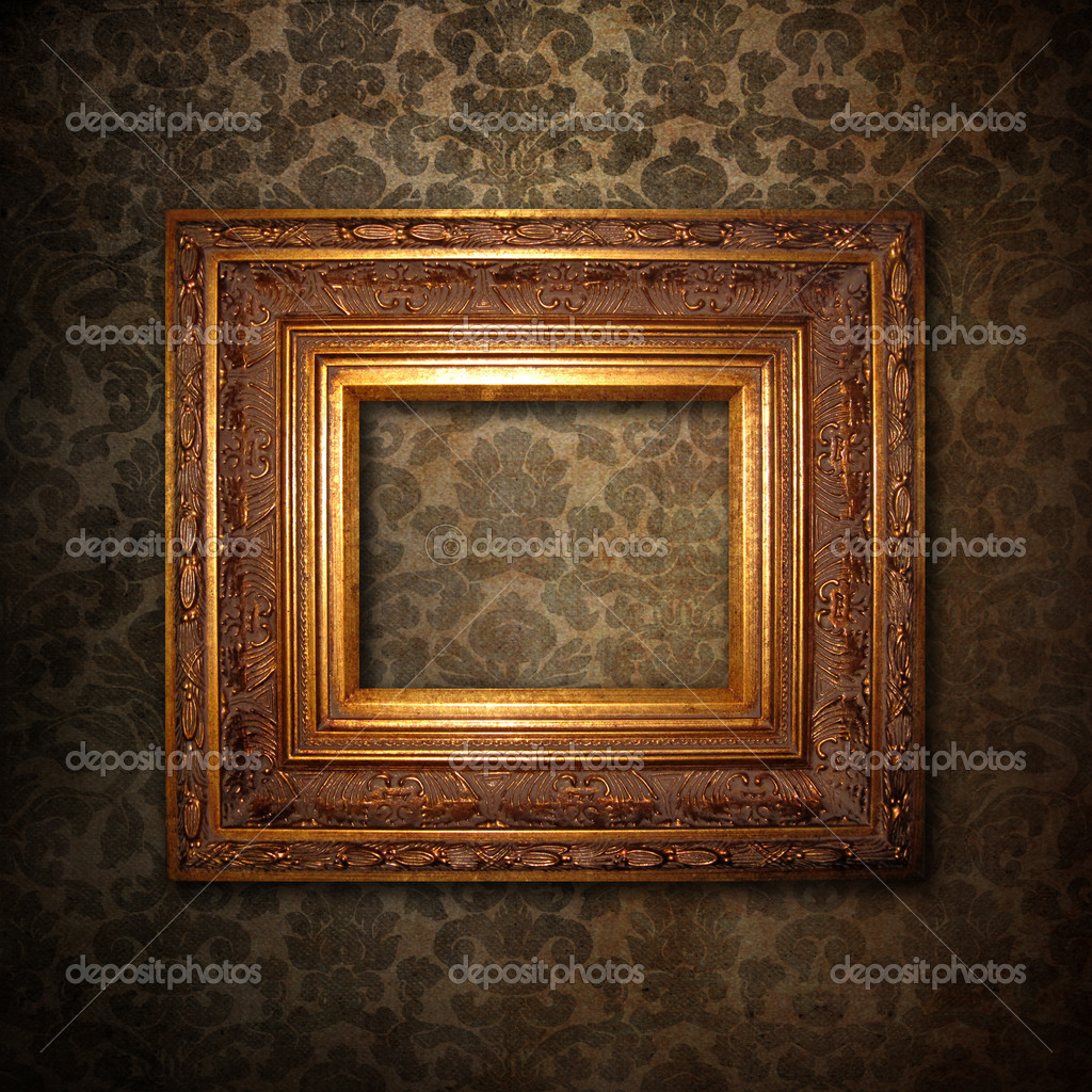 Grungy antique wallpaper background with wooden frame   Stock Photo #1907469