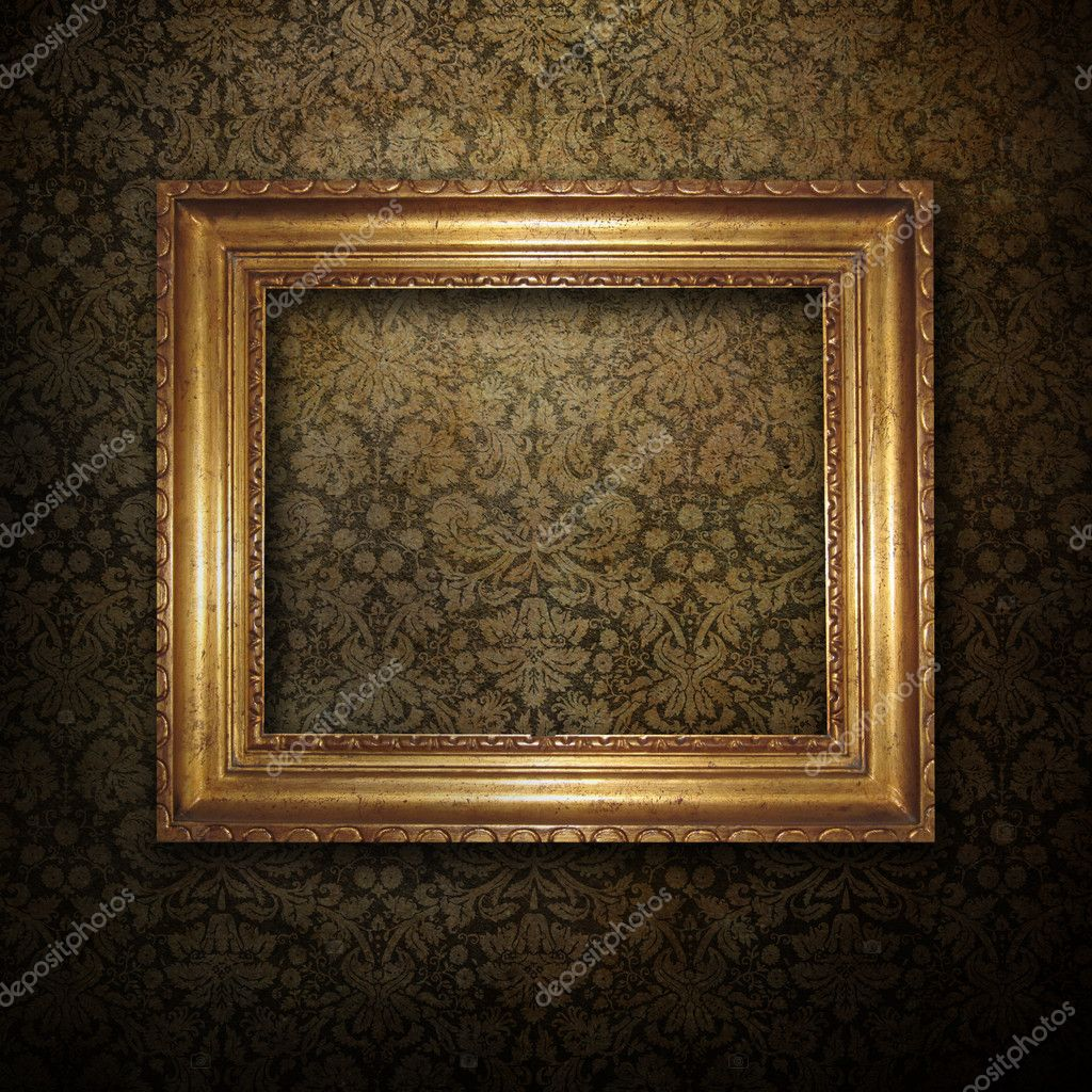 Golden frame over grunge wallpaper background — Stock Photo #1907520