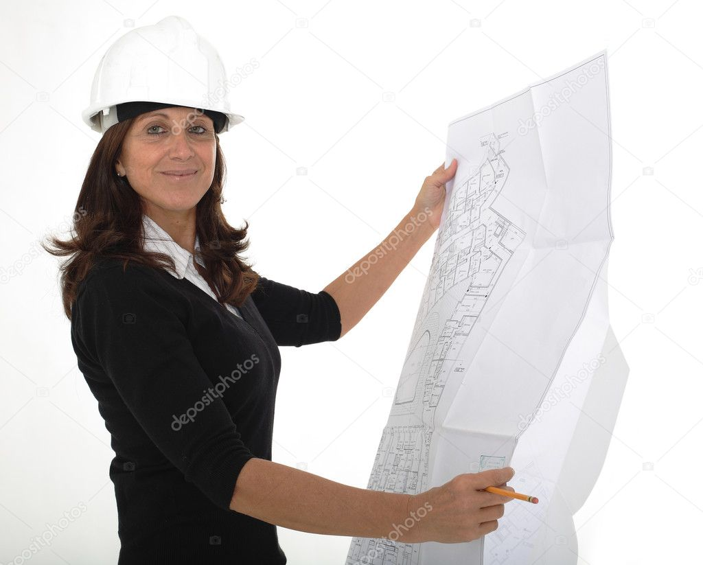 Pretty mature woman architect holding blueprints and standing, isolated on white background  — Stock Photo #2050784