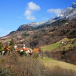 Small village – valley of French Alps - Stock Photo