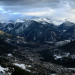 View on Briancon and range of Alps - Stock Photo
