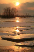 Vistula river in Poland - sunset. — Stock Photo