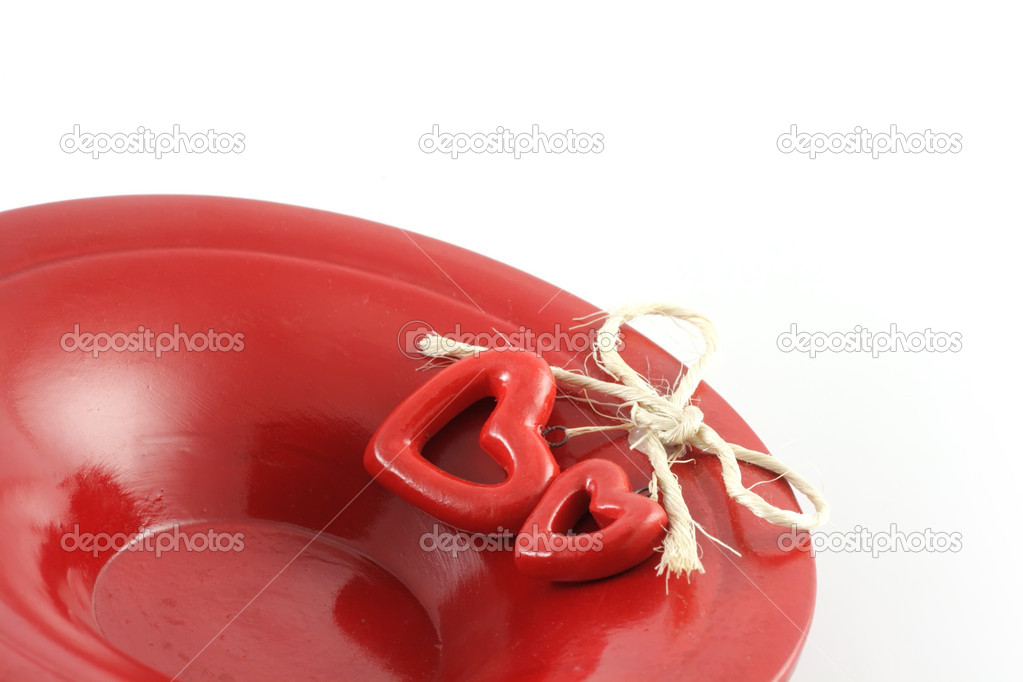 Image from holiday series: hearts on red plate — Stock Photo #1889320