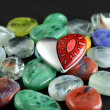 Heart and glass stones — Stock Photo
