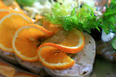 Cooked meat to sandwiches of the orange — Stock Photo
