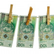 Polish banknotes hundred on string - Stock Photo