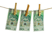 Polish banknotes hundred on string — Stock Photo