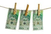 Polish banknotes hundred on string — Stock Photo