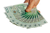 Polish banknotes hundred in hands — Stock Photo
